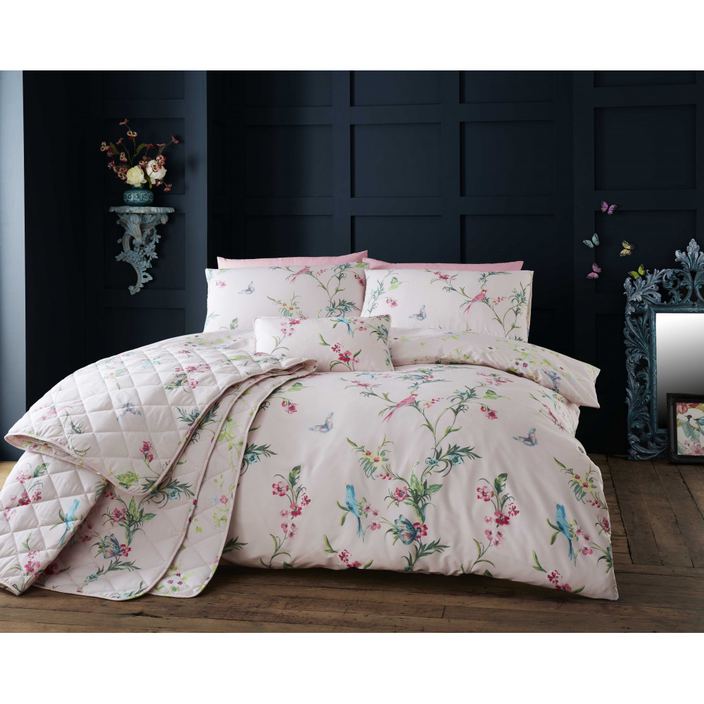 200 Thread Count Floral Duvet Cover Set in Pink
