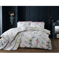 200 Thread Count Floral Duvet Cover Set in Pale Grey