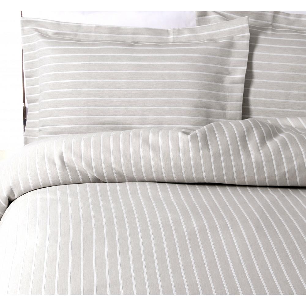 100% Cotton Stripe Design Duvet Cover in Grey & White