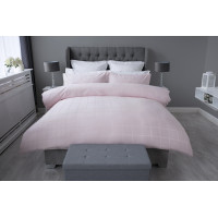300 TC 100% Cotton Sateen Check Duvet Cover Set in Blush Pink