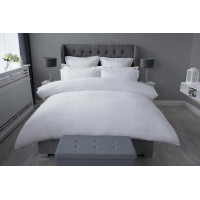 300 TC 100% Cotton Sateen Check Duvet Cover Set in White