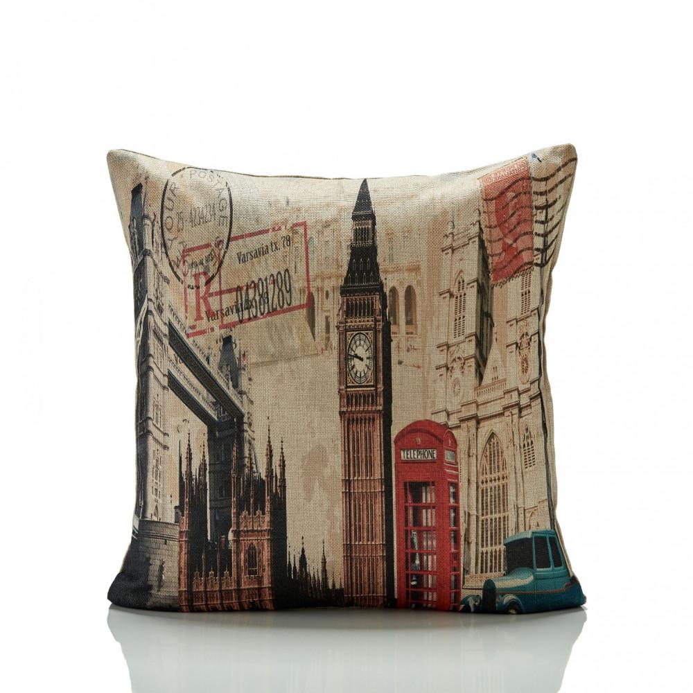 London Theme Big Ben Cushion Cover