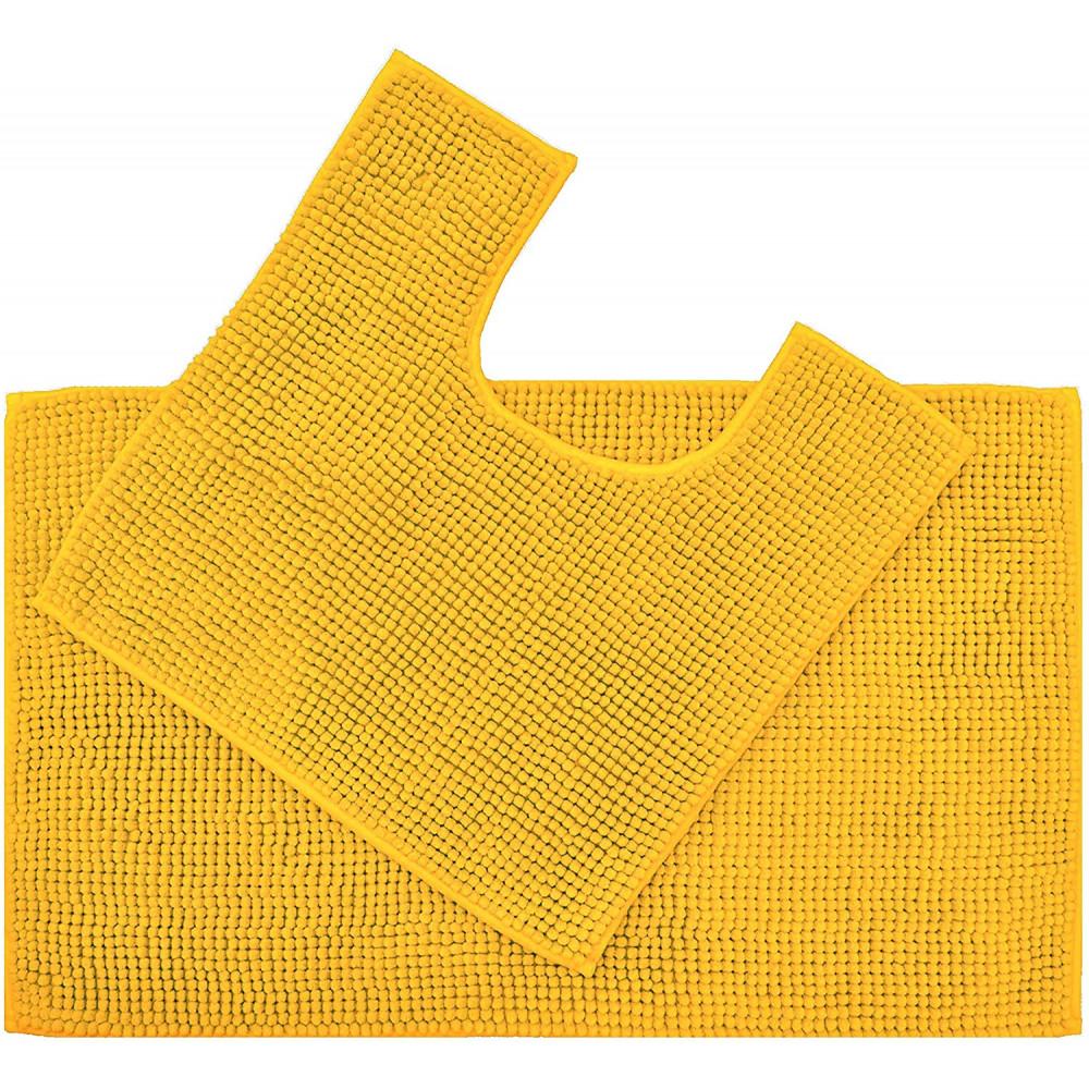 Supersoft Micro Chenille Bath Mat Set Mustard Yellow