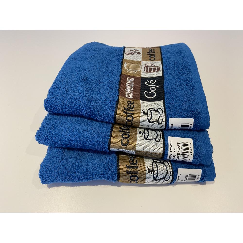 Pack of 3 Cafe Cafe Tea Kitchen Towel Blue