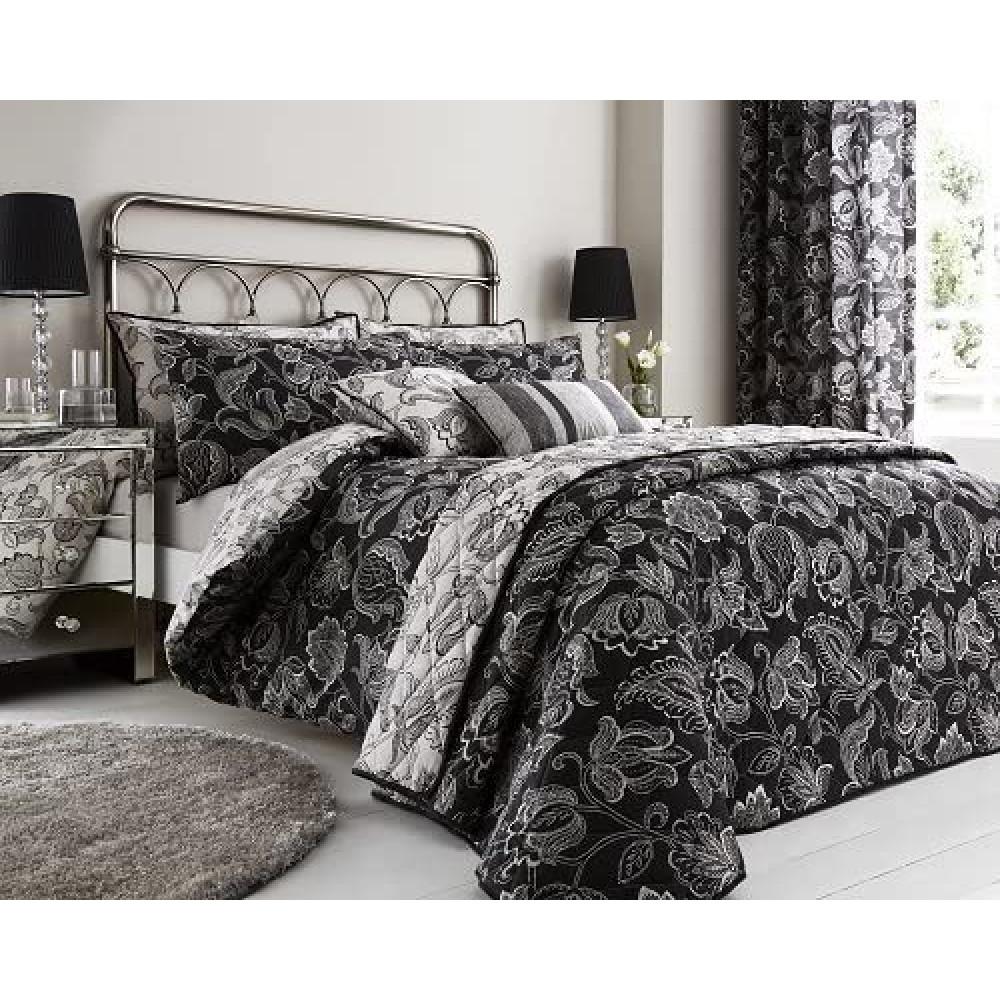 200 Thread Count Floral Duvet Cover Set Black
