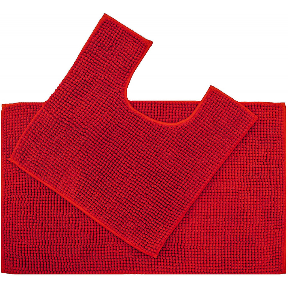 Supersoft Micro Chenille Bath Mat Set Red
