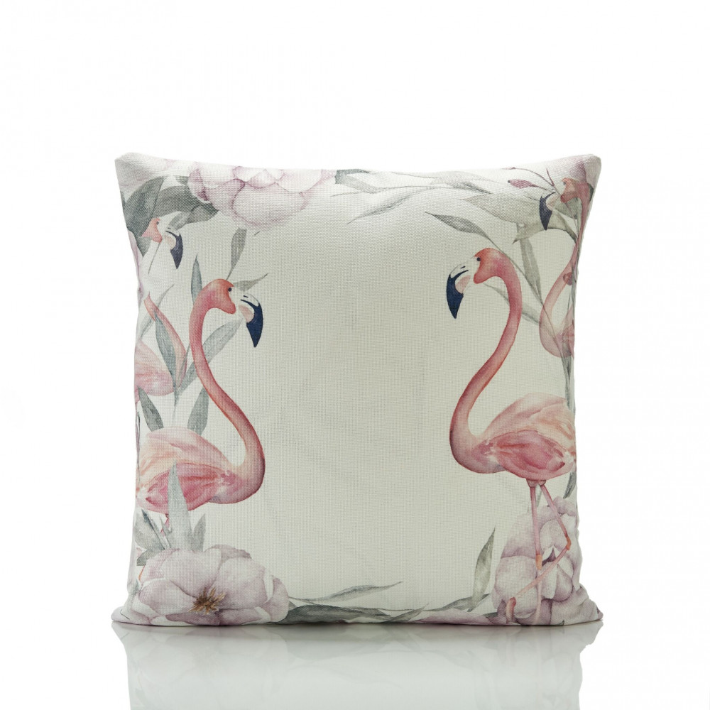 Floral & Pink Flamingo Cushion Cover