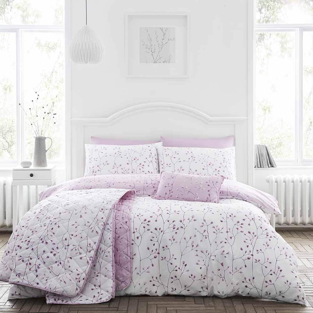 Cotton Rich Hip Sprig Floral Duvet Set in Mauve