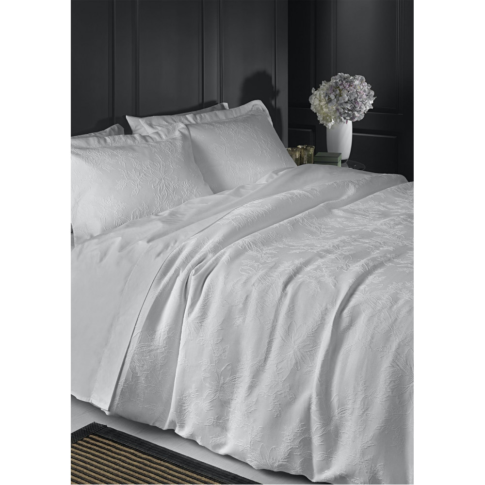 100% Cotton Woven Jacquard Floral Design Duvet Cover in Ivory
