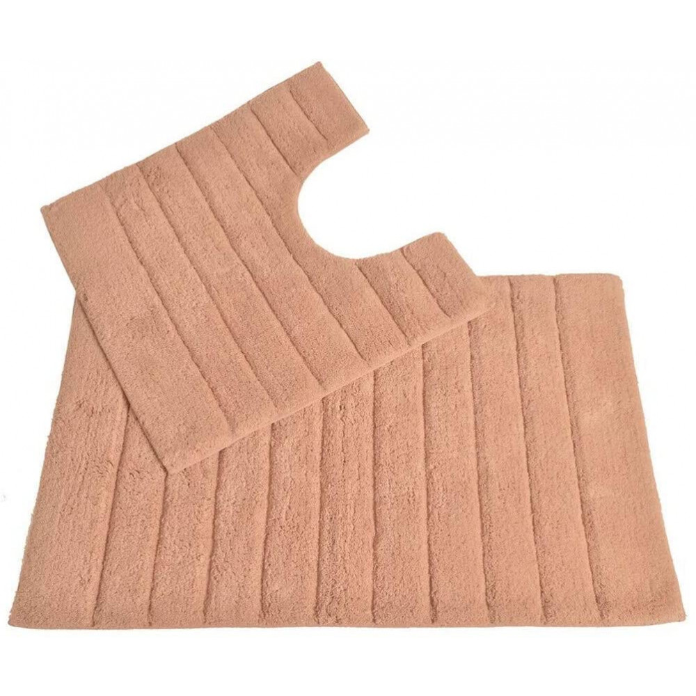 100% Cotton Two Piece Linear Rib Bath and Pedestal Mat in Blush Pink