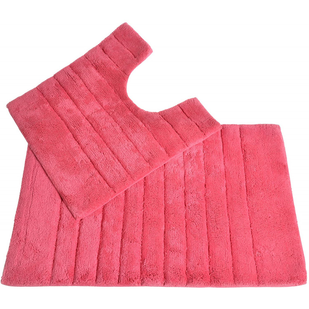 100% Cotton Two Piece Linear Rib Bath and Pedestal Mat in Hot Pink