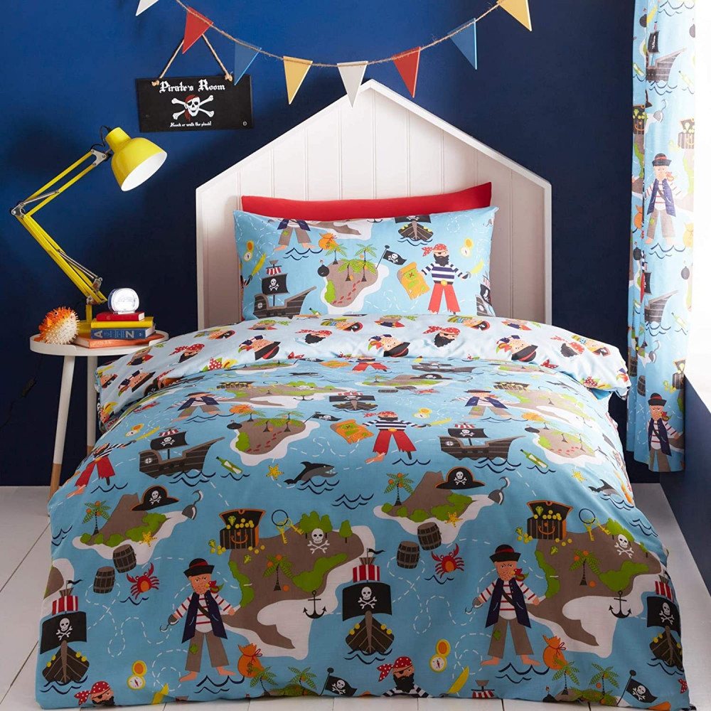 Pirate Map Duvet Cover Blues