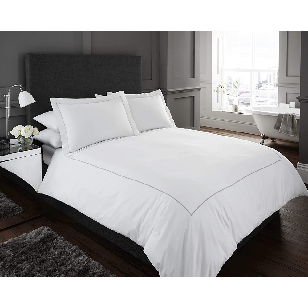 200 Thread Count White Duvet Cover Set with Silver Border