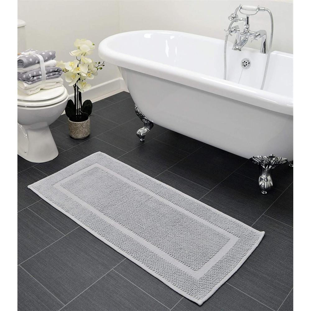 Cotton Bath Mat Runner in Dove Grey