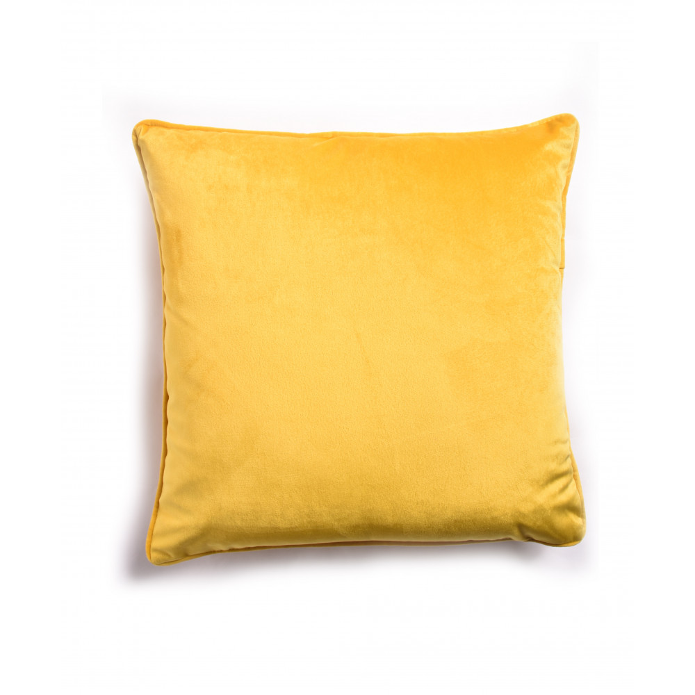 French Velvet Cushion in Saffron Yellow