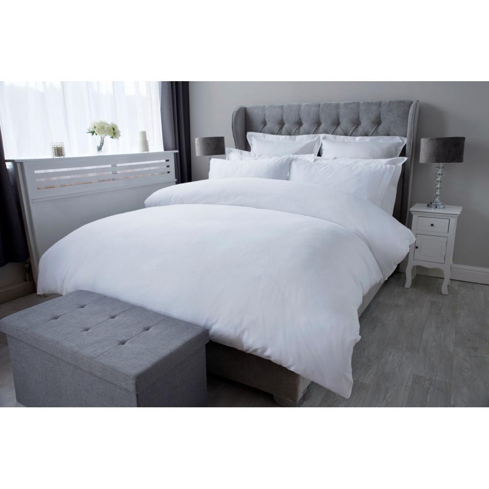 300 TC 100% Cotton Sateen Micro Dobby Check Duvet Cover Set in White