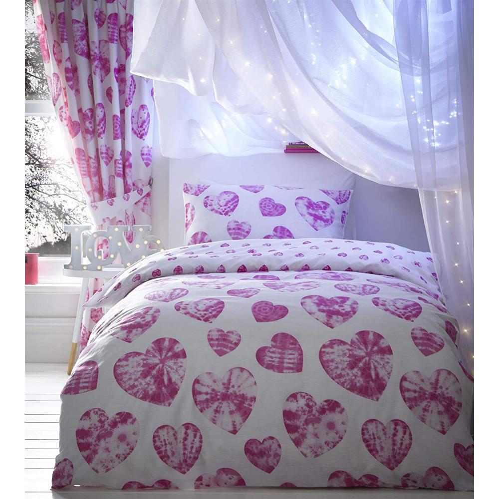 Tie Dye Heart Duvet Cover Pink