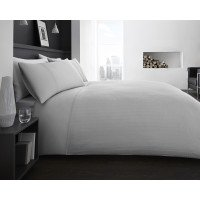 300 Thread Count Check Duvet Cover Set Grey