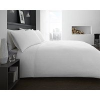 300 Thread Count Check Duvet Cover Set White