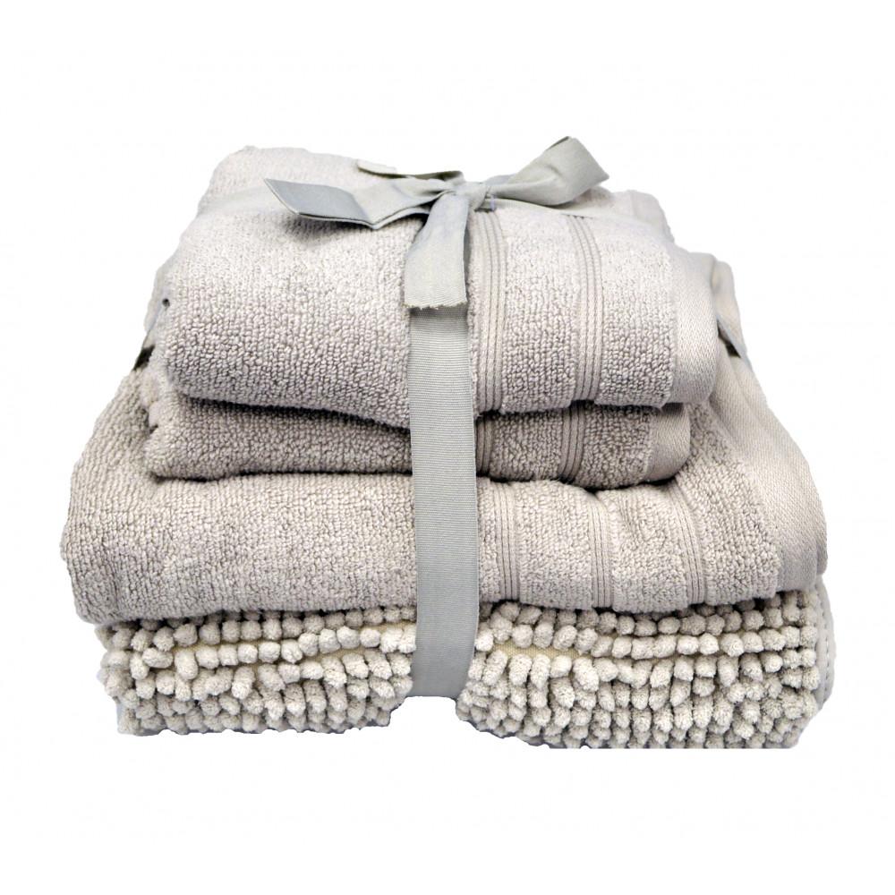 Four Piece Towel Bath Mat Bale Light Grey