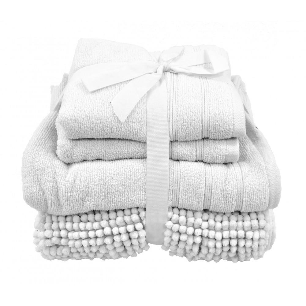 Four Piece Towel Bath Mat Bale White