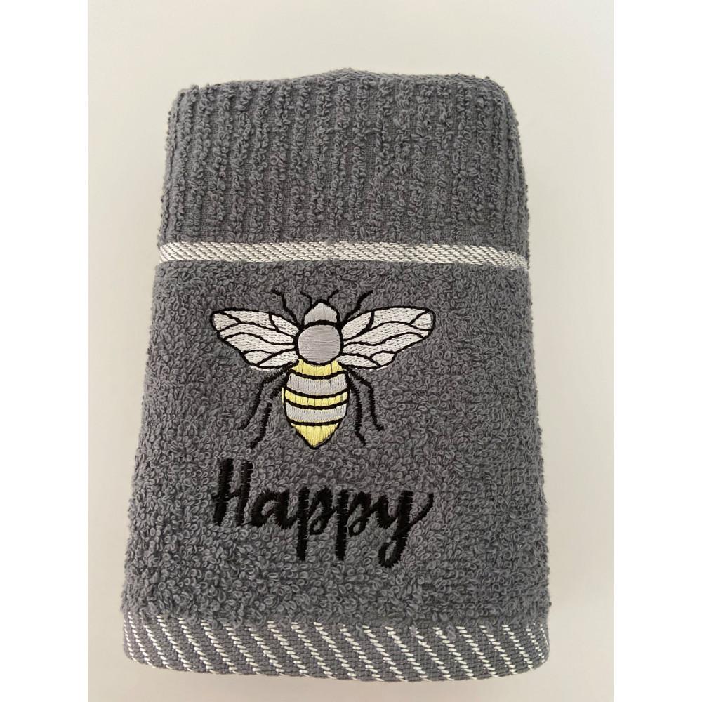 3 Pack Bee Happy Tea Kitchen Towel in Grey