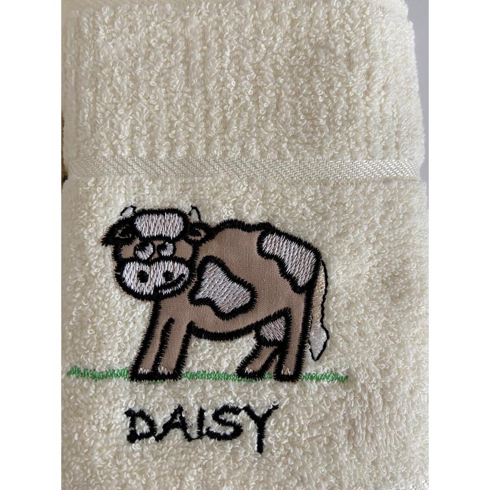 3 Pack 'Daisy' Cow Tea Kitchen Towel Cream