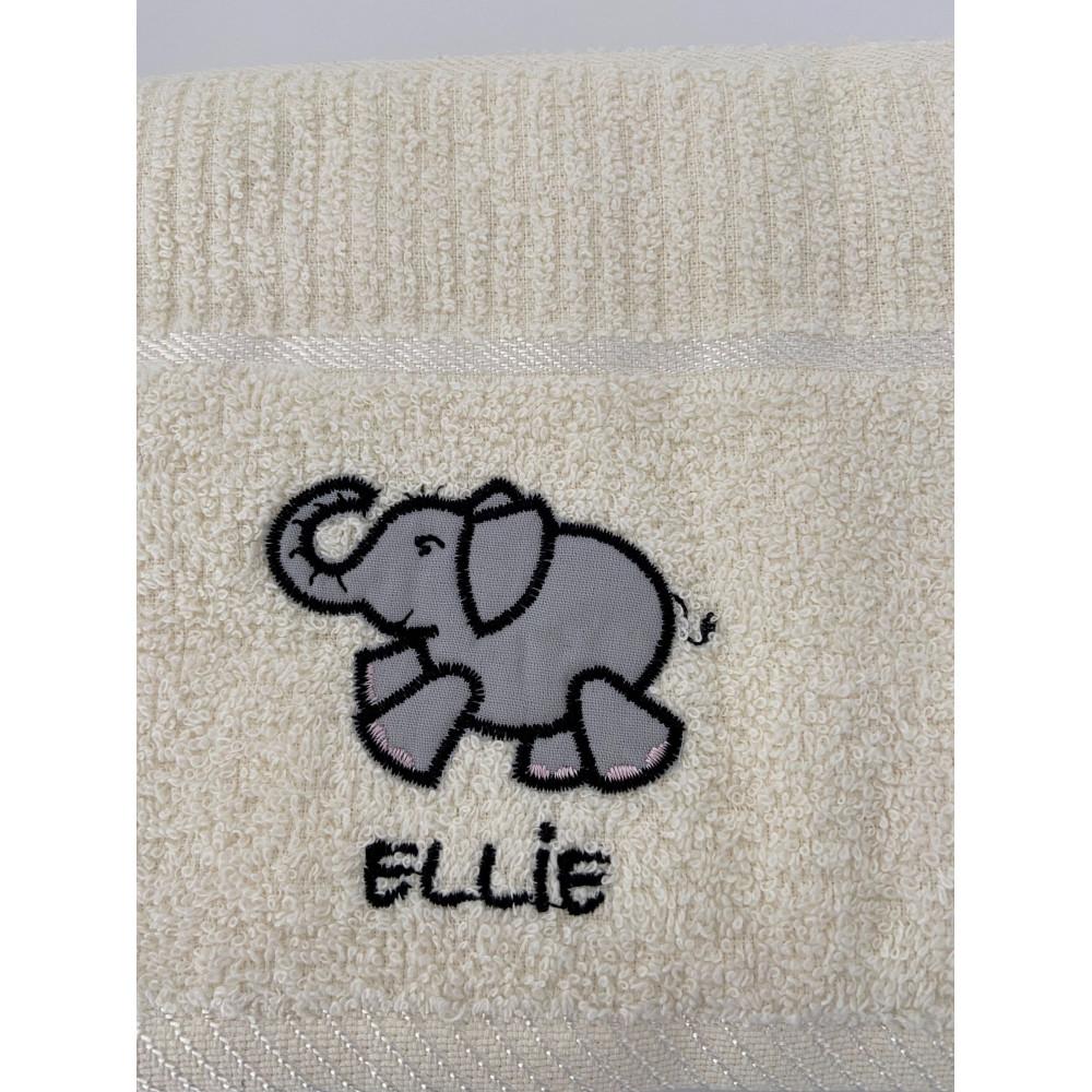 3 Pack Ellie Elephantt Tea Kitchen Towel Cream