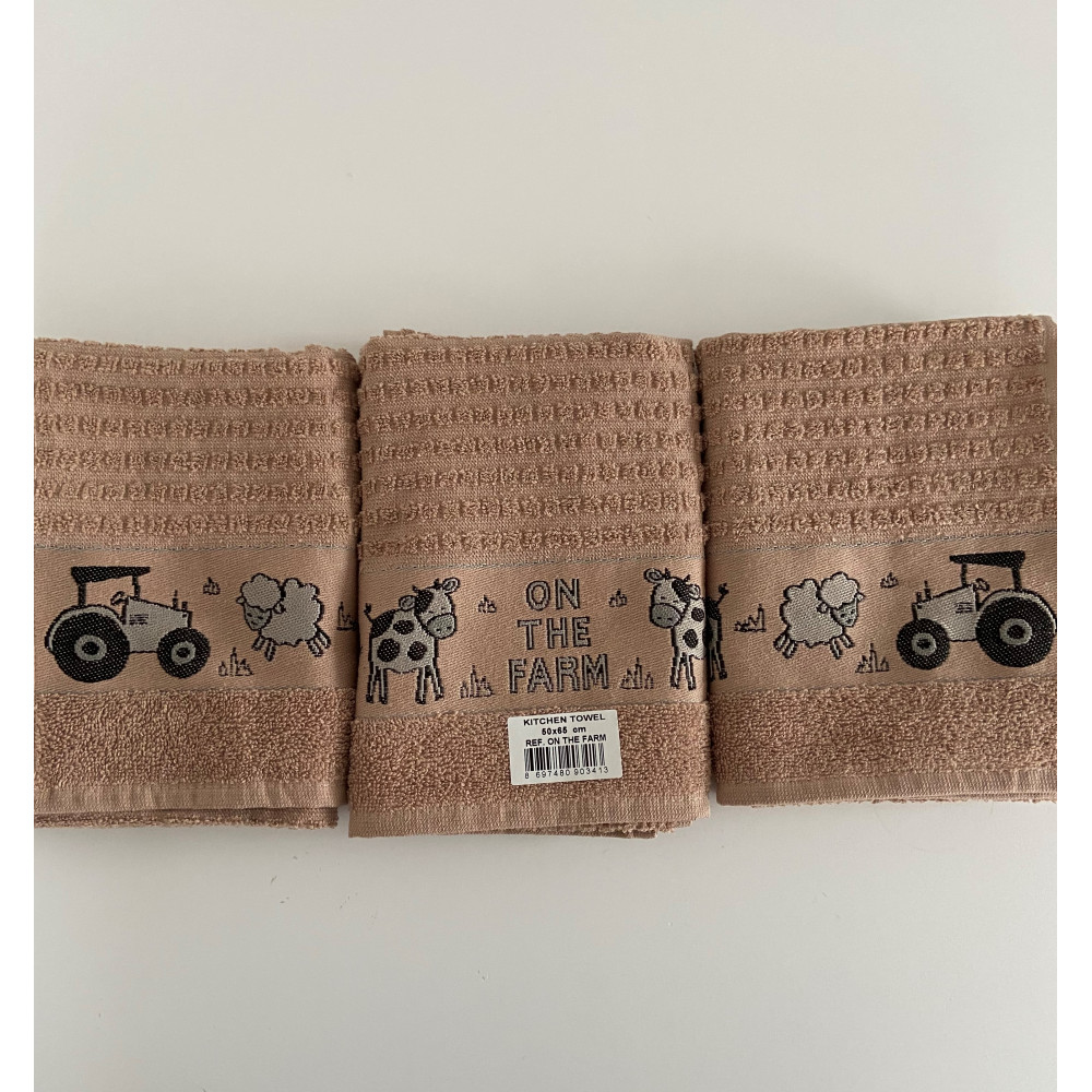 3 Pack One The Farm Tea Kitchen Towel Latte