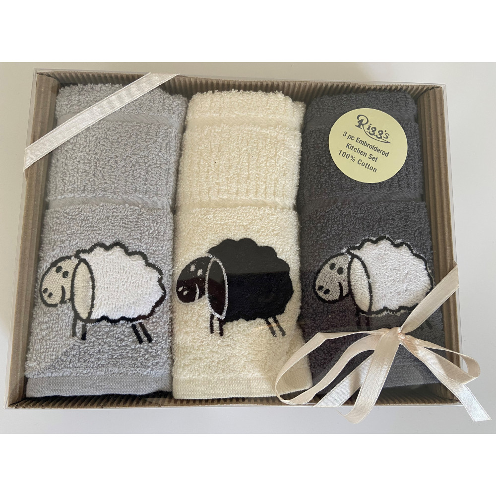 3 Pack Sheep Kitchen Tea Towel Gift Box