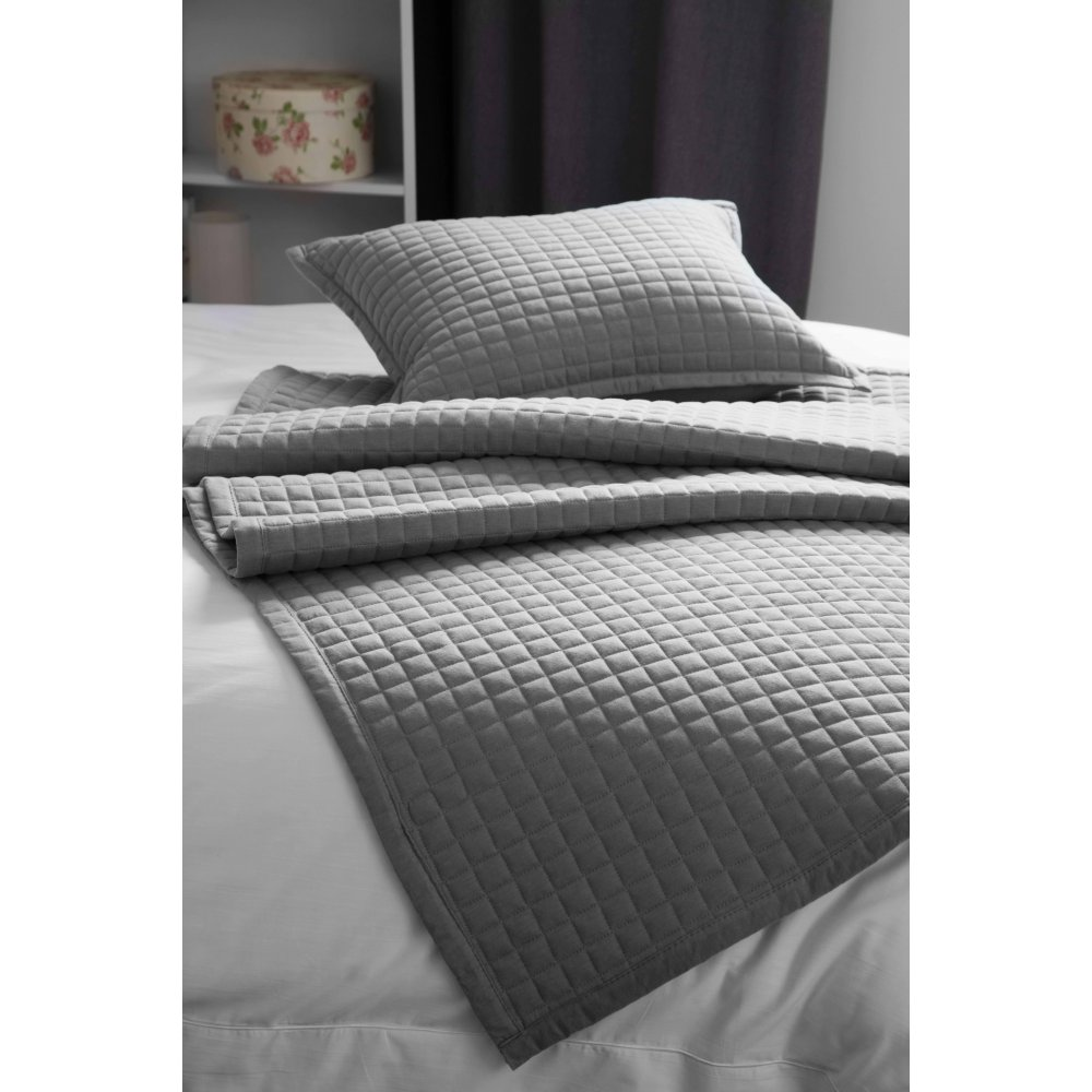 Lightly Quilted Bed Runner / Bedspread Grey