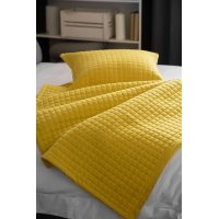 Lightly Quilted Bed Runner / Bedspread in Saffron Yellow