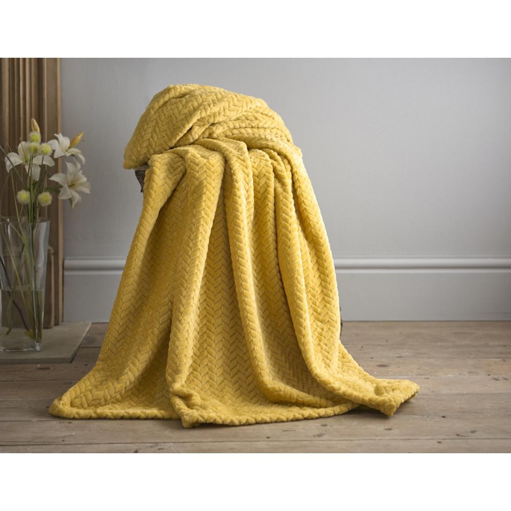 Supersoft Brampton Herringbone Throw in Mustard Yellow