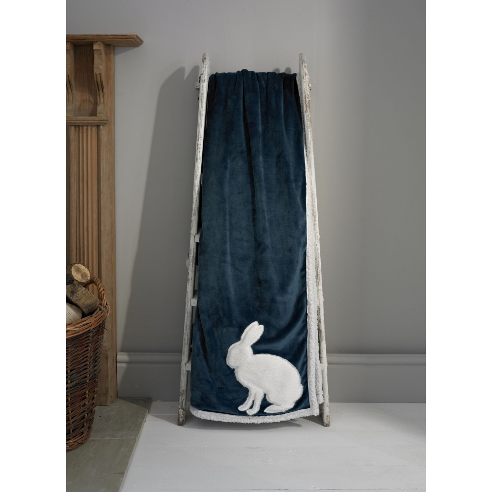Sherpa Reverse Throw in Teal with Rabbit Design