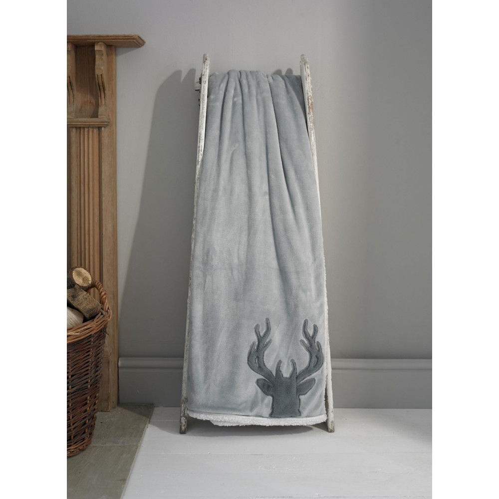 Sherpa Reverse Throw in Silver Grey Stag Design