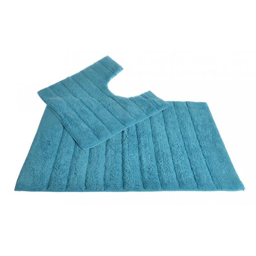 100% Cotton Two Piece Linear Rib Bath and Pedestal Mat in Turqoiuse