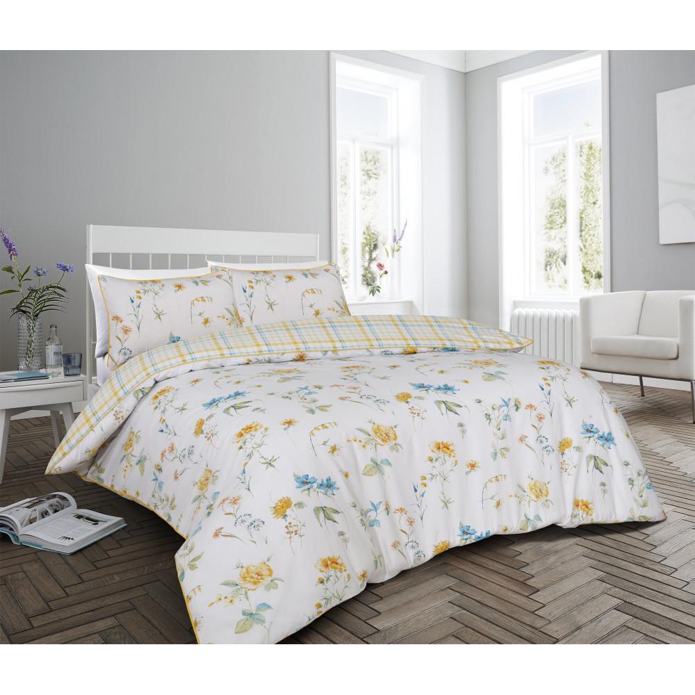 200 Thread Count Cotton Rich Floral Duvet Set in Lemon