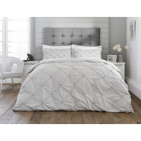 Rouched  Design Duvet Cover Set in Grey