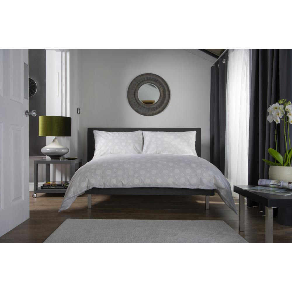 100% Cotton Circle Design Duvet Cover Set Grey