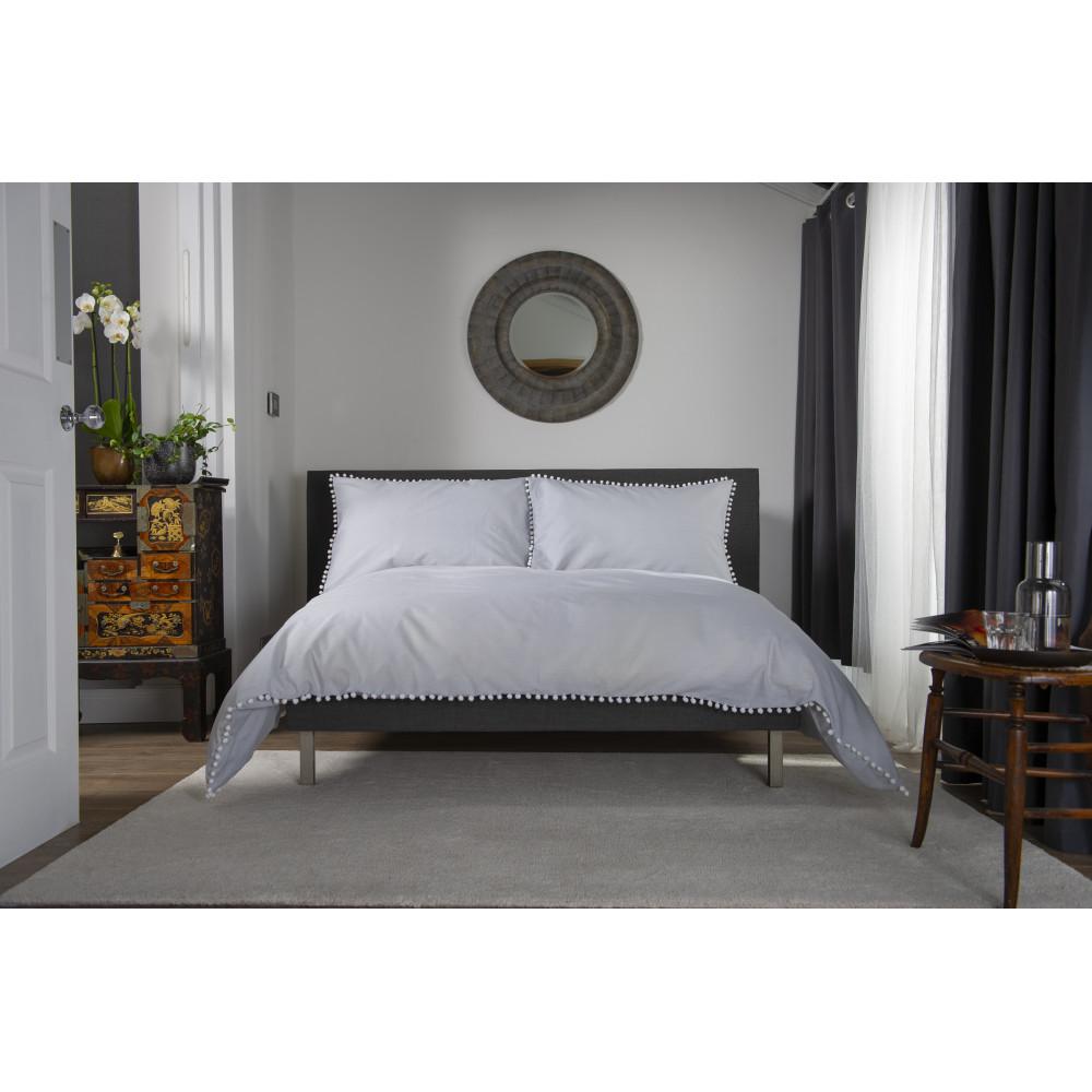 100% Cotton Pom Pom Design Duvet Cover Set Grey