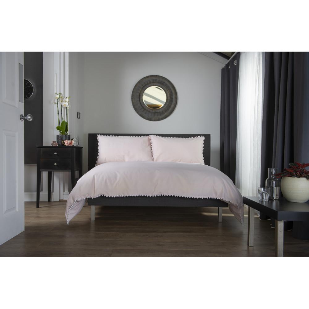 100% Cotton Pom Pom Design Duvet Cover Set Pink