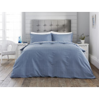 300 Thread Count Cotton Self Colour Check Design Duvet Cover Set Blue