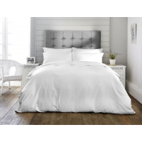300 Thread Count Cotton Self Colour Check Design Duvet Cover Set White