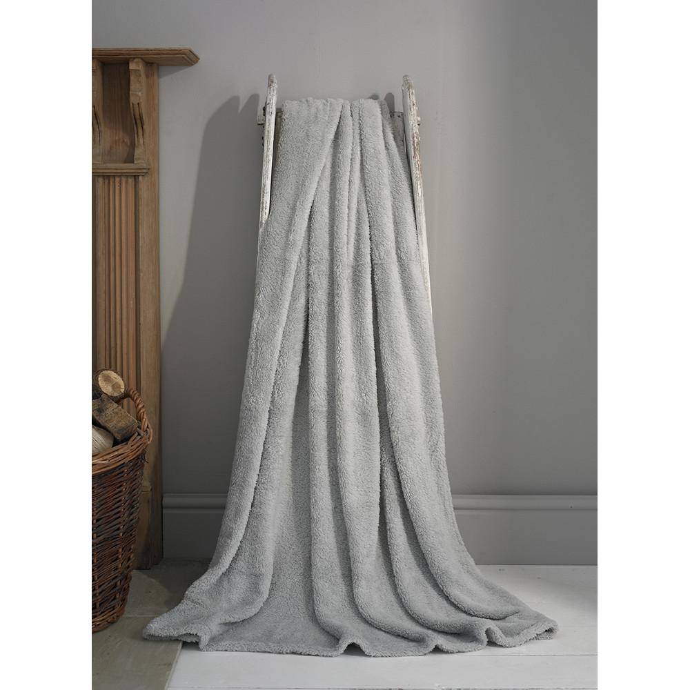 Teddy Fleece Soft Throw in Silver Grey - Two Sizes