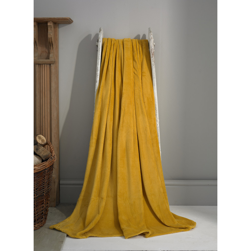 Snuggle Touch Large Throw 200cm x 240cm in Ochre Yellow