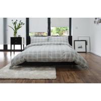 100% Brushed Cotton Duvet Cover Set Check Design in Grey