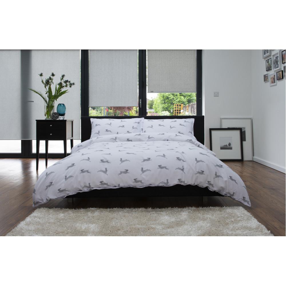 100% Brushed Cotton Duvet Cover Set Pale Grey Hare Design