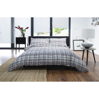 100% Brushed Cotton Duvet Cover Set Check Design in Grey & Red
