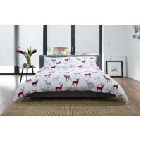 100% Brushed Cotton Duvet Cover Set Red & Grey Stag Design