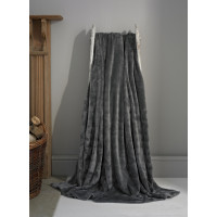 Luxury Supersoft Plush Throw in Charcoal Grey